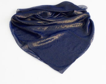 Navy Gold Scarf, Blue Silk Scarf, Gift for Wife, Birthday Gift for Mother in law Sparkly Gift for Friend, Navy Blue Scarf, Striped Scarf