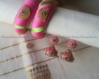 Pink Handcrafted Silk Thread bangles with green stripes -Rhinestone Studded Bangles - silk thread bangles. Size 2.6