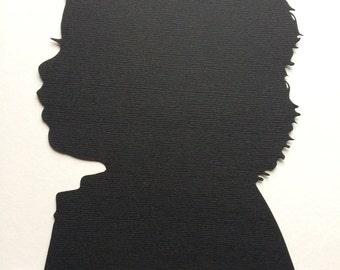 "Hand Cut Custom Silhouette Portrait  - 4"" × 6"" Silhouette Cameo / Silhouette Cutting / Silhouette CutOut / Silhouette Portrait"