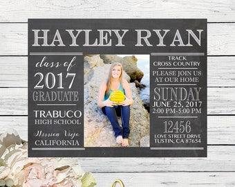 Graduation Announcement OR Invitation - PERSONALIZED - DIY Printing Digital file (Grad-ChalkPic17)