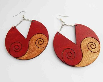 Swirl Earrings Red Wooden Jewelry Hand painted Wood Cute Handmade Unique Ethnic Jewellery