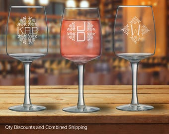 Monogram Peonies 16oz Wine Glass 1, 2 or 3 letters (12+ Styles)  16oz
