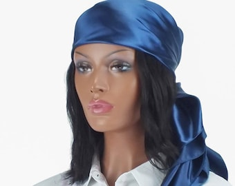 Satin Scarf Navy Head Wrap Available in 14 Solid Colors