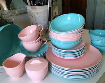 VINTAGE MELAMINE DINNERWARE, 50's Melamine Dinnerware,  Pink and Aqua Dinnerware, 50's Dinnerware, Mid-Century Dinnerware, Ward Dinnerware