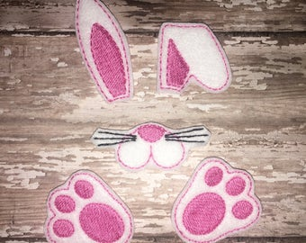 2 Sets of Bunny Pieces Parts for a Bow Head Feet Foot Paw Oversized Oversize Pieces Easter Feltie Felties Bow! Birthday Party