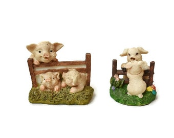 Vintage Lot Mama Pig & Baby Piglets At Fence Resin Figurines Mommy and Me Piggies
