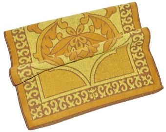 Vintage '60s Sears Bath Towel Floral Scroll Design Mustard Ochre Lemon Yellows Retro Medium Size