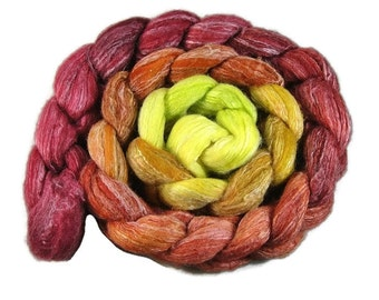 Merino wool, silk and bamboo roving top gradient hand paited 4 oz, for spinning or felting