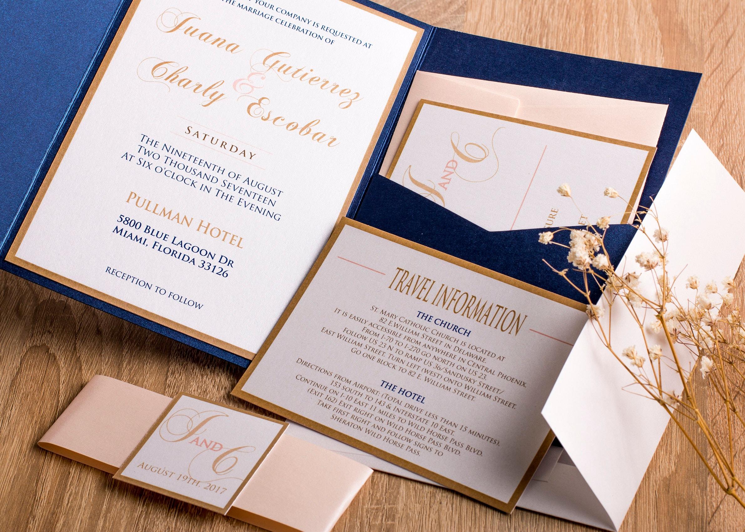 Charming Blush And Navy Wedding Invitation Suit, Navy And Pink Wedding Invitations,  Pocket Invitations