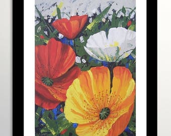 Poppies Painting, Poppies, Flower Painting, Original Painting, Poppies Art, Flowers Art, Floral Art, Poppies Flowers, Palette knife Painting