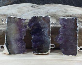 Amethyst Slice, Amethyst Connector, Amethyst Slice Pendant, Amethyst Druzy Pendant, Drusy Pendant, Silver, PS1103C