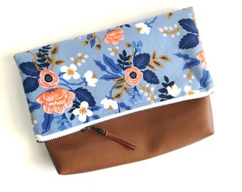 Faux Leather Fold Over Clutch - Make Up Bag - Zipper Pouch - Clutch - Cosmetic Bag - Zipper Bag - Cosmetic Bag