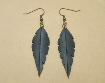 Bicycle inner tube large feather earrings