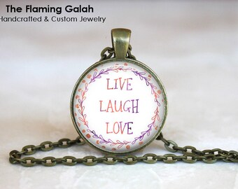 LIVE LAUGH LOVE Pendant •  Love Inspiration •  Happiness Quote •  BoHo Quote • Gift Under 20 •  Made in Australia (P1338)