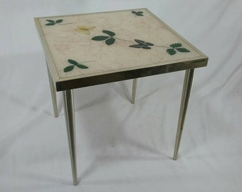 Single Mid century brass small table with butterflies and leaves stacking retro