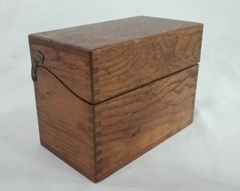 Vintage oak card file catalog box recipe