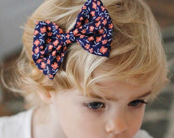 Navy & Coral : baby bow nylon headband