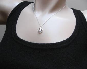 April Birthstone, Crystal Necklace, Sterling Silver, Crystal Bezel, Bezel Pendant, Crystal Pendant, Layered Necklace, Gift For Her