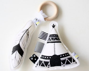TeePee Rattle and Feather with Detachable Teether Combo – Hand Printed on Wool Felt - Save 15% with Combo