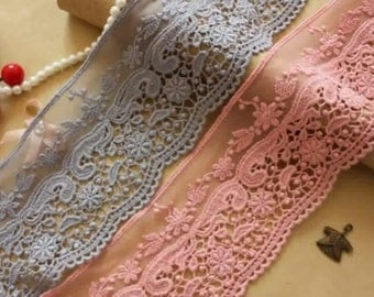 """ON SALE, Pink/gray Cotton lace trim floral lace trim cotton embroidery lace trim by 2 yards- 3.15""""wide x 2.2 yards long(xiao)"""