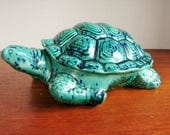 1970's Holland Mold Ceramic Turtle Dish,Green Blue High Gloss Glaze, Turtle Shell Lid, Candy Or Trinket Dish, Realistic Details, Made in USA