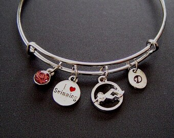 I Love Swimming and Swimmer Personalized Expandable Bangle Bracelet Hand Stamped Initial Birthstone, I Love Swimming and Swimmer Charms