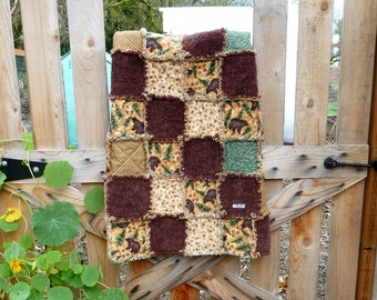 Brown Bear Quilt, baby rag quilt, ready to ship, wildlife quilt