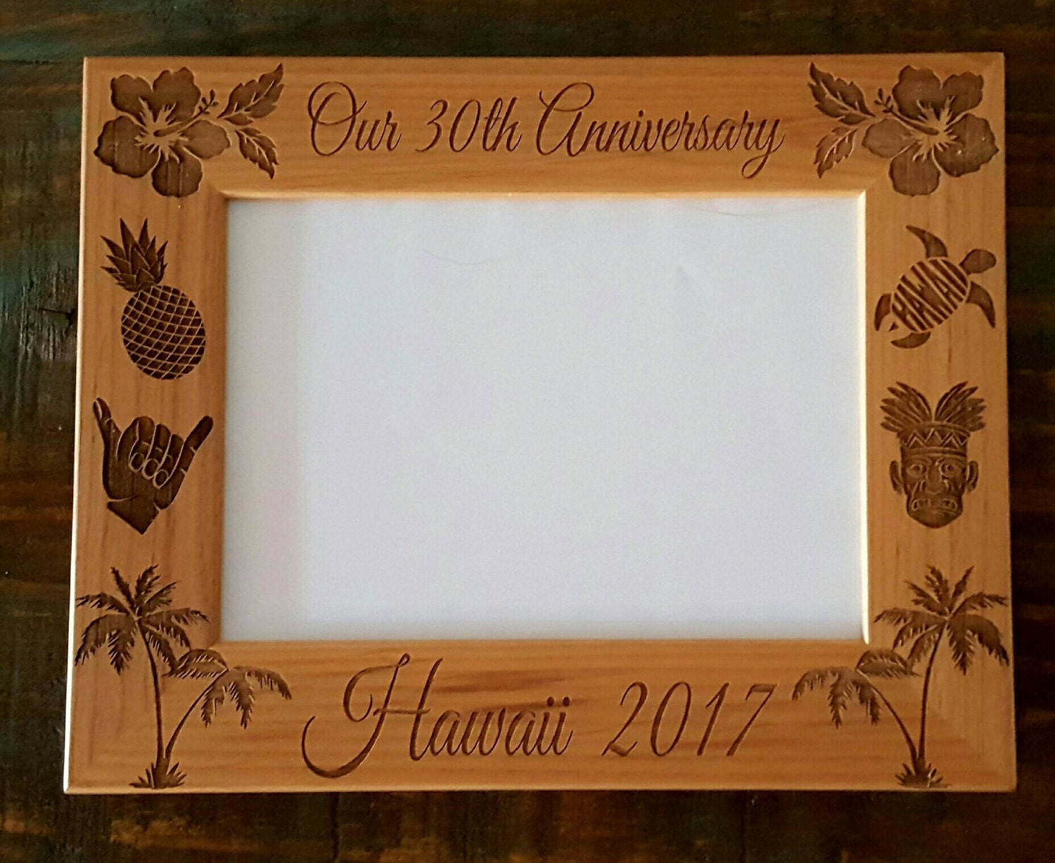 Hawaii Anniversary Picture Frame 5x7, Custom Laser Engraved Frame