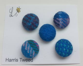 Harris Tweed Covered Buttons - Teal Mix