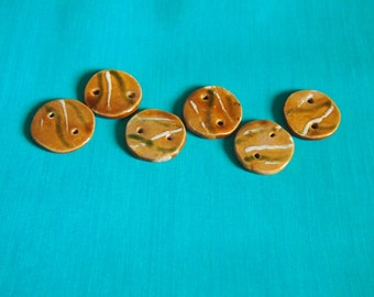 Yellow ochre-colored ceramic buttons 6 PCs