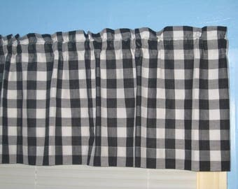 """LINED GINGHAM CHECKED 1"""" Square 1/4"""" square Black White window Curtain Valance"""