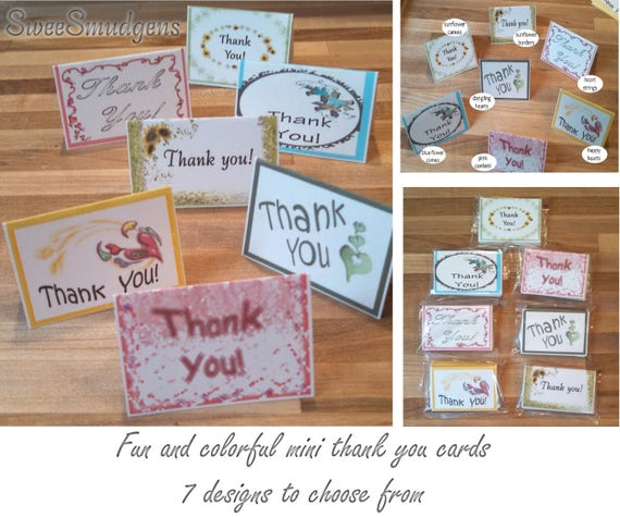 Spring & summer all occasion mini thank you card bi fold place card mini gift tag floral supply event tag hand made party supply pocket card
