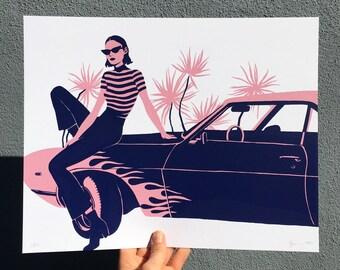 Car girl screen print