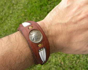 Buffalo leather Native Indian Navajo  good luck shells cuff bracelet Buffalo Indian Nickel coin customize to wrist size. tribal ketoh