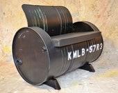 Industrial Furniture Barrel Chair Distressed Black Vinyl padded seat