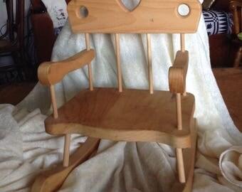 Small Wooden Doll Rocker Chair