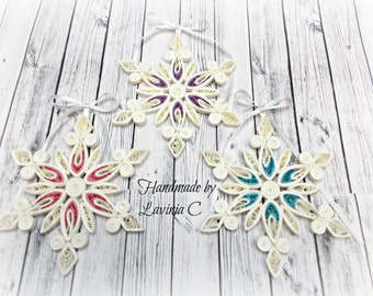 Romantic Quilled Christmas tree ornaments -quilled snowflake set of 3-purple-pink-blue-without glitter-size 10 cm/4 inches(approx)