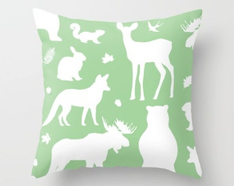 Woodland Animals Pillow With Insert - Forest Animals Pillow Cover - Woodland Nursery Decor - Green Pillow Cover - Nursery Decor