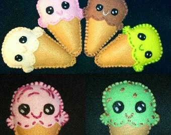 Cute 3in Ice-cream Cone Plush Felt Stuffie Handmade