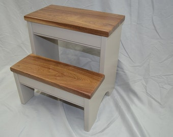 Step Stool -- Perfect Greige Base with Walnut Steps -- Perfect for kids bathroom, kitchen or closet!
