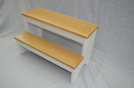 Step Stool 24 Wide White Base With White Oak Hardwood