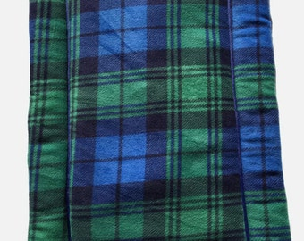 Green Plaid Dog Bed, Blue Crate Pad, Puppy Bedding, Couch Cover, Fleece Pet Pad, Large Dog Bed, Fleece Crate Mat, Pet Travel Items, Dog Gift
