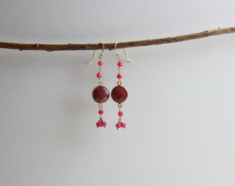 Ruby 24K Gold Plated Dangle Earrings