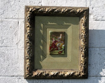 Gorgeous Limoges Fragonard Framed Tile Wood Gesso Frame Marked Lovely