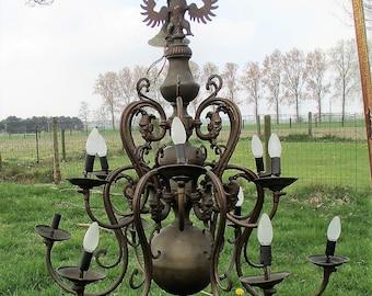 Huge Antique Flemish Dutch Double 12 Arms Castle Chandelier Eagle Jesters