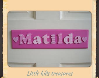 """BESPOKE girls personalised name plaque 12x3"""" with cute lettering! -  Little kids treasures"""