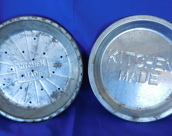 """Vintage Kitchen Made 9"""" Pie Plates, Set of 2, 9"""" x 3/4"""" One Perforated 9"""" x 1.25"""""""