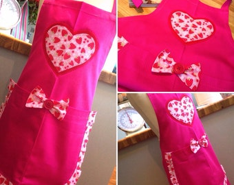Girls Pink Apron Chef Apron Cook Baker Baking Apron Dapper Apron Masterchef Apron - Pink Heart Apron Valentine Apron