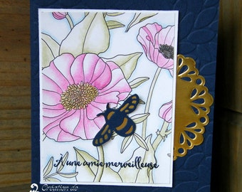 Friendship - flowers and bee greeting card