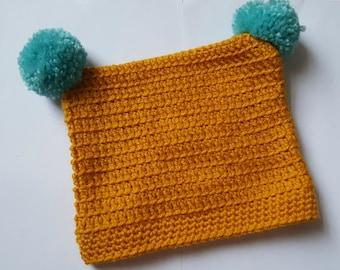Infant/Child's Square Pom Pom Hat
